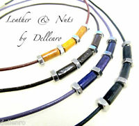 ✫LEATHER & NUTS ✫ UNISEX NECKLACE  WITH STAINLESS STEEL. U CHOOSE COLOUR & SIZE
