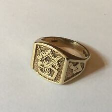 Vtg Mens Gents HM 9ct 9k Masonic Freemasons Insignia Signet Ring Size L 1/2 4.9g