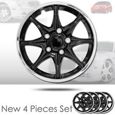 New 15 inch Black Hubcaps Wheel Covers Full Lug Skin Hub Cap Set 522 For Honda