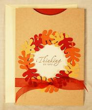 A7 Leaf Wreath Pocket Card Kit 5x7 Fall Autumn choose greeting AccuCut makes 4