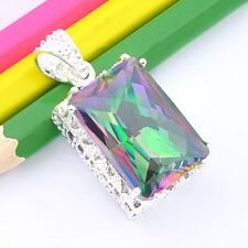 Rectangle Style Rainbow Fire Mystic Topaz Gems Vintage Silver Necklace Pendants
