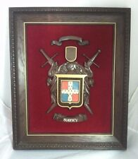 Vintage Burney Crest Coat of Arms Wall Hanging Red Velvet Burney Family Crest