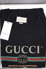 Nuevo Gucci Logo GG Desgastado Vintage Camiseta Tee negro edición limitada AGOTADO