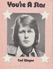 You're A Star - Carl Wayne - 1974 Sheet Music