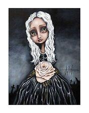 ROSE PRINT ANGELINA WRONA  11x14 poster fantasy surreal girl white hair cemetary