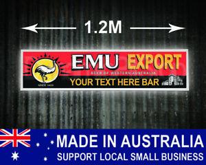 Large Illuminated Emu Export Custom Bar Sign, cave, garage, shed, Personalised