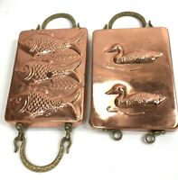 Vtg Copper Mold Duck Fish Farm House Wall Hanging lot of 2 brass handle