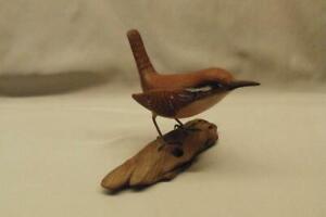 "Jim White Hand Carved Carolina Wren Bird Wood Figurine Signed Driftwood 3 3/4"""