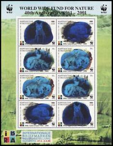 Kyrgyzstan WWF Fox 40th Anniversary WWF Sheetlet of 2 sets with Ovpt 2001