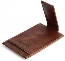 Cowhide Leather Magnetic Money Clip for Men Front Pocket Bank Card Holder Wallet