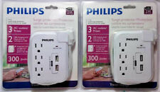 2 PCK PHILIPS TRAVEL SURGE PROTECTOR 3 AC OUTLETS 2 USB 300 JOULES FREE SHIPPING