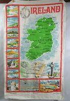 """IRISH MID CENTURY VINTAGE 50'S LINEN HAND TOWEL """"OLD DUBLIN IRELAND"""""""