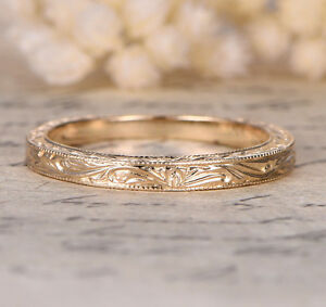 Hand Engraved Art Deco Antique Style 14K Yellow gold Engagement Wedding Ring