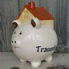 Sparschwein mit Haus Keramik weiß Spardose Hausbau Richtfest Hauskauf Geschenk