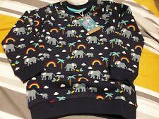 Frugi Organic Rex elephant rainbow Jumper Blue 100% organic cotton 9-10 years