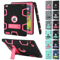 Shockproof Heavy Duty Rubber With Hard Stand Case Cover For iPad Air Mini Pro