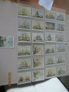 John Player & Sons Old Naval Prints 1936 Full Set of 25 cards in plastic sleeves