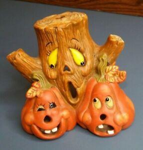 VINTAGE Ceramic Tea Light Holder Halloween Scary Tree & Jack O'Lantern