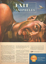 1944 WW2  Ad SHELL Research petroleum products Insecticides Great ART !  072216