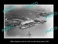 OLD LARGE HISTORIC PHOTO OF TILBURY ENGLAND, RIVERSIDE RAILWAY STATION c1920 2