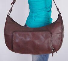 FOSSIL Medium Large Brown Leather Shoulder Hobo Tote Satchel Purse Bag