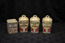 Antique German Set of 4 Floral Lusterware Spice Jars Kitchen Collectables