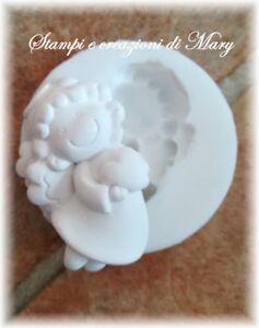 Stampo in silicone angelo con cuore per gessetti, segnaposto bomboniera 5 CM
