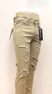 KAYDEN.K Men's Destroyed Premium Slim Fit Jeans Ankle Zipper Pants Khaki KD502