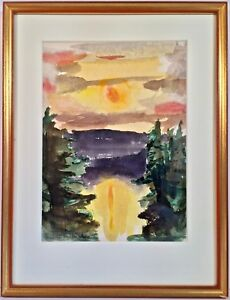 """Watercolor """"Sunset Over Lake"""" Signed Robert White Prov. Collection Of Jean Stein"""