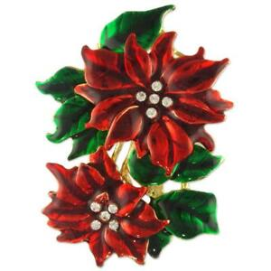 CRYSTAL CHRISTMAS POINSETTIA FLOWER BROOCH EARRINGS MADE WITH SWAROVSKI ELEMENTS