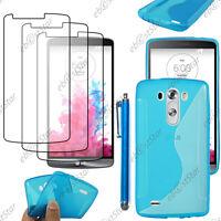 Housse Etui Coque Silicone Motif S-line Bleu LG G3 D855 + Stylet + 3 Film écran