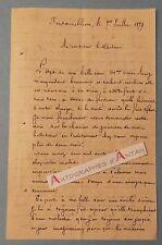 Fontainebleau 1879 Lettre du chef de gare Gaubert - Santé Veuve Bourg - L.A.S