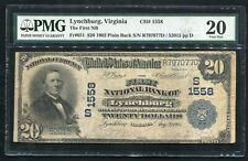 1902 $20 THE FIRST NB OF LYNCHBURG, VA NATIONAL CURRENCY CH. #1558 PMG VF-20