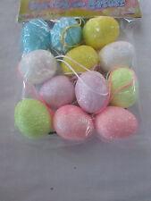 "Pkg of 12- 1-1/2"" Glitter Assorted Pastel Easter Egg Ornaments, New"