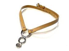 Bijou cuir et alliage argenté collier signé Longchamp necklace