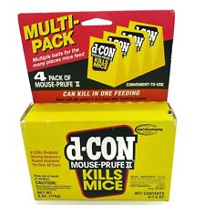 d-CON Mouse Prufe II Kills Mice 4 pack Convenient to use 4/1.5 oz NOS