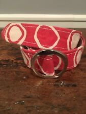 ANN VERONICA Handprinted Maine Canvas Belt Artisan Red Silver Buckle SMALL