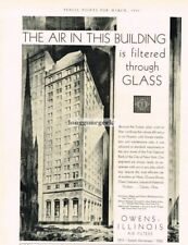 1933 Owens-Illinois Air Filters First National Bank New York Vintage Ad
