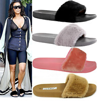Womens Slip On Size Flat Farrah Rubber Slider Mules Fur Slipper Rihanna Sandals