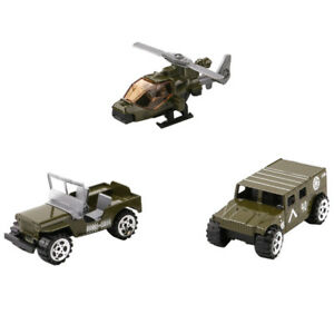 3pcs 1:64 Jeep Car Battefield Car Helicopter Toy Soldiers   Model Kit