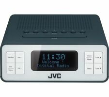 JVC RA-D38-H PORTABLE DAB FM ALARM CLOCK RADIO LCD DISPLAY DUAL ALARM 3.5MM GREY
