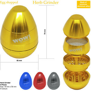 WOW egg shaped Grinder Large 4 Pieces Aluminium Best Dry Spice Crusher