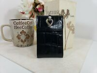 Brighton Embossed Black Leather Compact Notepad Notes Silver Heart
