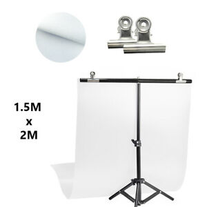 T Crossbar Studio Backdrop Support Stand 1.5 x 2m with White Fabric Background