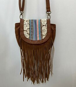 MUDD Crossbody Bag Small Purse Brown Faux Leather w Fring & Boho Fabric Accents