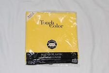 """Touch of Color, Plastic Table Cloth, 82"""" Round Cover - Mimosa Yellow"""
