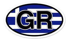 "GR Greece Flag Oval car window bumper sticker decal 5"" x 3"""