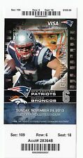 2013 NEW ENGLAND PATRIOTS VS DENVER BRONCOS TICKET STUB 11/24/13 BRADY MANNING