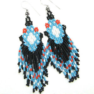 NATIVE STYLE BEADED HANDCRAFTED ETHNIC  BLACK BLUE SEED BEADED EARRINGS 4""