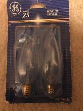 2 PK New clear 25 watt Candelabra base light bulb